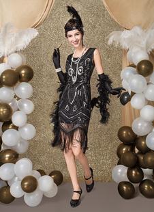 Carnevale Vestiti Anni 20 per donne in tessuto con lustrini Vestito Flapper Nero Costumi Retro halloween lungo fino al ginocchio Halloween