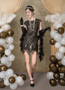 Black Flapper Dress 1920s Fashion Style Vintage Costume Women's Sequined Zigzag Cut Short Sleeves 20s Party outfits Short dress Carnival