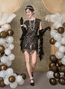 Carnevale Vestiti Anni 20 per donne Nero Vestito Flapper mini/corte Costumi Retro in tessuto con lustrini halloween Costume Taglia Forte Halloween