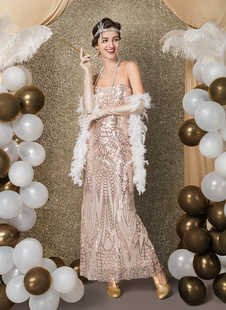 Great Gatsby Flapper Dress 1920s Fashion Style Vintage Costume Women's Champagne Sequined Off the Shoulder Backup zipper long 20s party Outfits Dress Halloween