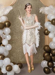 Carnevale Vestiti Anni 20 per donne Oro Vestito Flapper in tessuto con lustrini Costumi Retro halloween Costume Taglia Forte Costumi Costumi Halloween