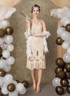 Carnevale Vestiti Anni 20 per donne Albicocca Vestito Flapper in tessuto con lustrini Costumi Retro halloween Costume Taglia Forte Costumi Halloween
