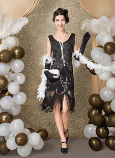 Flapper Dress Great Gatsby 1920s Fashion Style Vintage Costume Women's Black Sequined Charleston Dresses with Tassels Round Neck 20s Party Outfits Dress Halloween