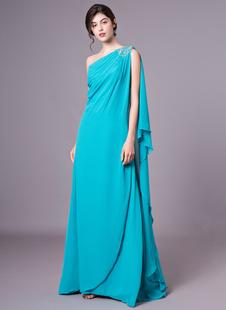 Элегантные Зеленая охотничья горный хрусталь одно плечо сексуальное вечернее платье