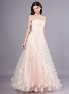 Персик без бретелек выпускного вечера платье линии цветка тюль Длина пола Homecoming платье