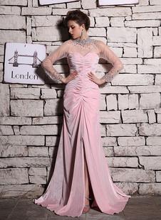 Русалка розовый бисером высокий воротник-Платье вечернее из шифона и бархат Milanoo
