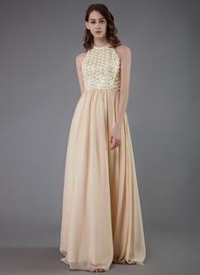 Платье выпускного вечера шампанского 2021 шифон без рукавов длиной до пола, вечерние выпускные платья выпускного вечера