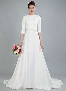Simples Vestido de Noiva Frisado Faixa Backless Bateau Pescoço Meia Mangas A Linha de Vestidos de Noiva Com Trem da Corte