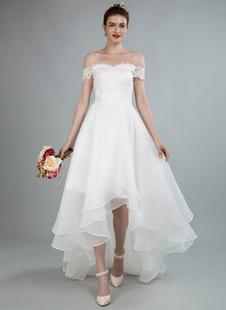 Vestido de noiva simples uma linha fora do ombro mangas de renda vestidos de noiva com trem
