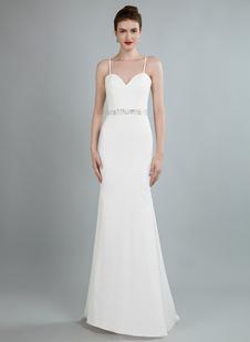 Simples vestido de noiva bainha querida pescoço mangas compridas frisado vestidos de noiva com trem