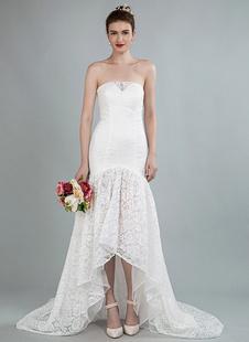 Simples vestido de noiva sem alças sem alças sereia vestidos de noiva com trem