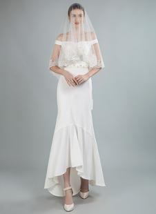 Faixa de vestido de noiva simples frisada fora do ombro vestidos de noiva assimétricos