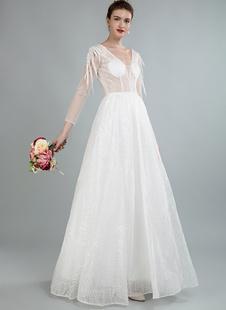 Simples vestido de noiva uma linha v pescoço mangas compridas flores apliques vestidos de noiva
