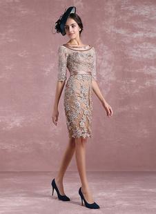 Brautmutterkleider Etui- Abendkleider für Hochzeit Spitze Cocktailkleider Graubraun Hochzeit 1/2 Ärmel mit Rundkragen knielang und Gürtel