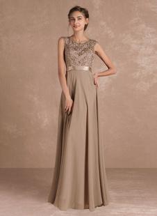 Шифон мать платье кружева бисером иллюзия вечернее платье без рукавов Sash ярко-этаж длина Формальные платье