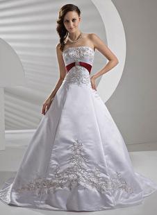 Robe de mariée trapèze ivoire en satin bustier zip sur dos à traîne broderie robe de mariage