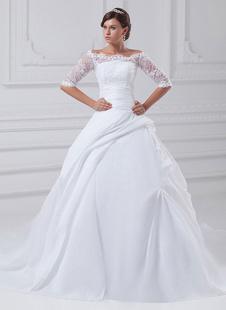 Белый шар бальное платье без бретелек бисером Тафта Свадебные платья