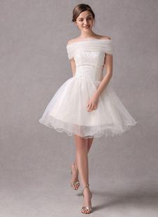 Vestido de novia de organdí de color marfil sin tirantes de estilo moderno Milanoo