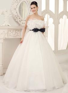 Brautkleider Prinzessin Prom- Brautkleider ärmellos Hochzeit trägerlos Brautkleider große Größen Elfenbeinfarbe       Organza bodenlang mit Schnürung