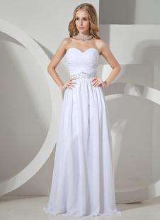 Vestido de noite de Sweetheart Beading Chiffon mulher de branco