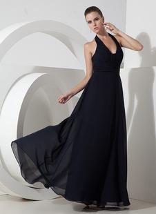 Элегантный темно синий шифон недоуздок пола вечернее платье