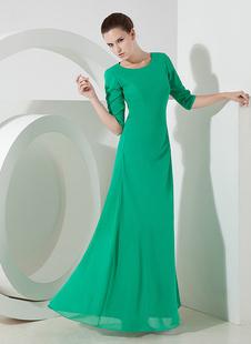 Зеленый половина рукава шифона вечернее платье