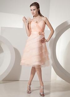 Обнаженная Homecoming платье Милая слоистых тюль A линии колена коктейль платье с бантом Sash