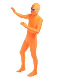 Оранжевый леотард комбинезон лайкра спандекс Унисекс одноцветный костюм с открытом лицом Хэллоуин
