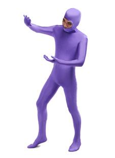 Фиолетовый унисекс открытым лицом лайкры спандекс костюм Хэллоуин