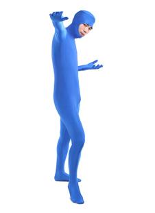 Унисекс синий открыть лица из лайкры спандекс костюм Хэллоуин