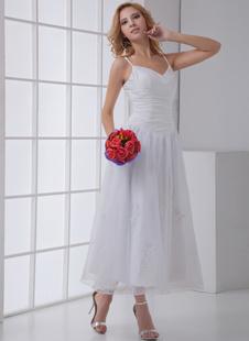 Белый трапеция спагетти ремень аппликация из органзы Люкс Свадебное платье