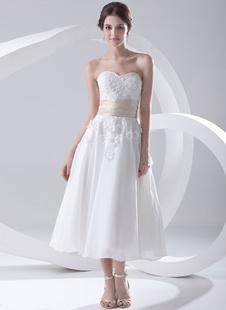 Robe de Mariée Simple 2021 Blanc A Ligne Coeur Applique Perles Chiffon Robe de Mariée