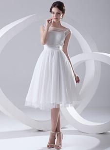 Robe de Mariée Simple 2021 Illusion Court Robe de Mariée Blanc Chiffon Robe de Mariée