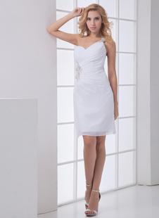 Белый ножны одно плечо аппликацией шифон свадебное платье свадьба