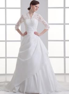 Brautkleid aus Taft mit V-Ausschnitt in Weiß
