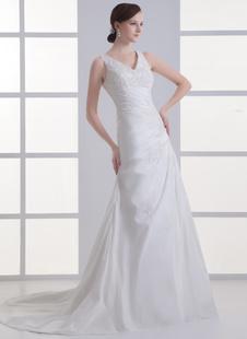 Brautkleid aus Taft mit V-Ausschnitt in Elfenbeinfarbe