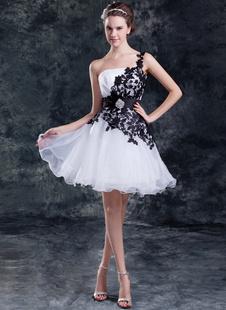 Красивый белый кружевной одно плечо мини для новобрачных свадебное платье из органзы