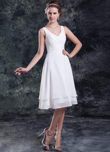 Белый-линии v-образным вырезом шифон свадебное платье для невесты