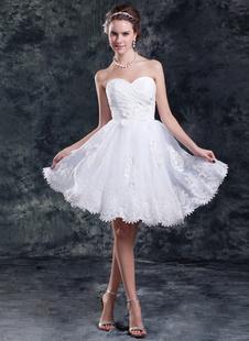 Длина до колен белые коктейльное шеи Ruched органзы свадебное платье