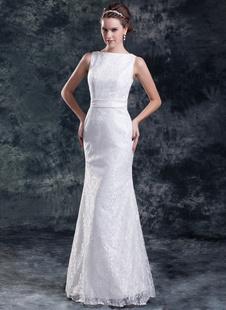 Шикарный белой оплетке Bateau шеи створки кружева невесты свадебное платье