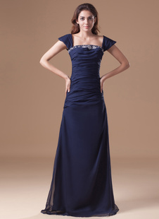 Темно флота шифон, бисероплетение вне плечу женщин вечернее платье