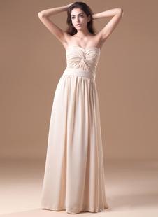Благородный шампанского шифон створки возлюбленной шеи женщин вечернее платье