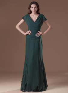 Элегантный темно зеленый атласа бисером v-образным вырезом женщин вечернее платье