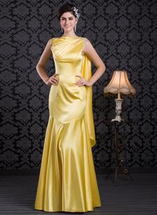 Гламурная бледно-желтый бисером моды вечернее платье