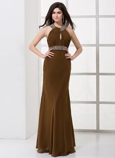 Формальные шифон плиссированные Холтер женщин вечернее платье