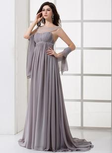 Элегантные лаванды шифон плиссированные высоким воротником сексуальное вечернее платье
