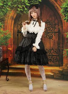 Gothic Style Black Ruffles Jacquard Lolita Skirts