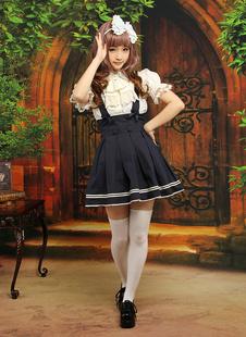 Mignonne tenue Lolita doux en coton bleu marine foncé manches courtes Déguisements Halloween