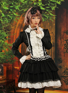 Costume de lolita en polyester multicouche avec col montant Déguisements Halloween