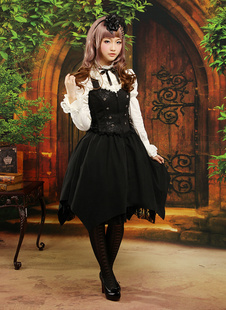 Costume de lolita gothique en jacquard de col montant  Déguisements Halloween